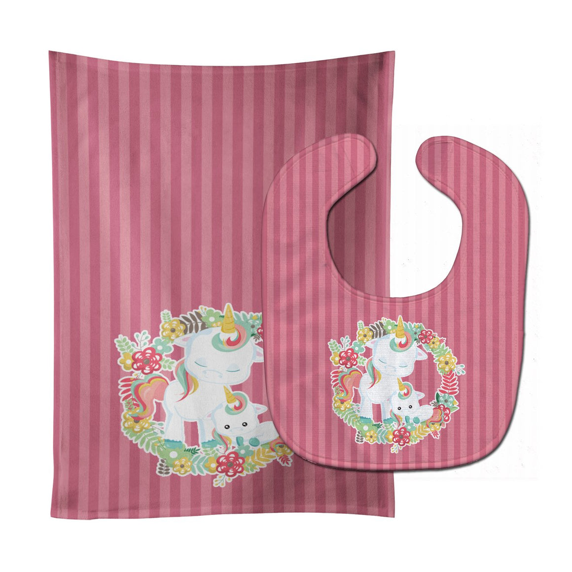 Buy this Unicorn and Flowers Baby Bib & Burp Cloth BB8772STBU