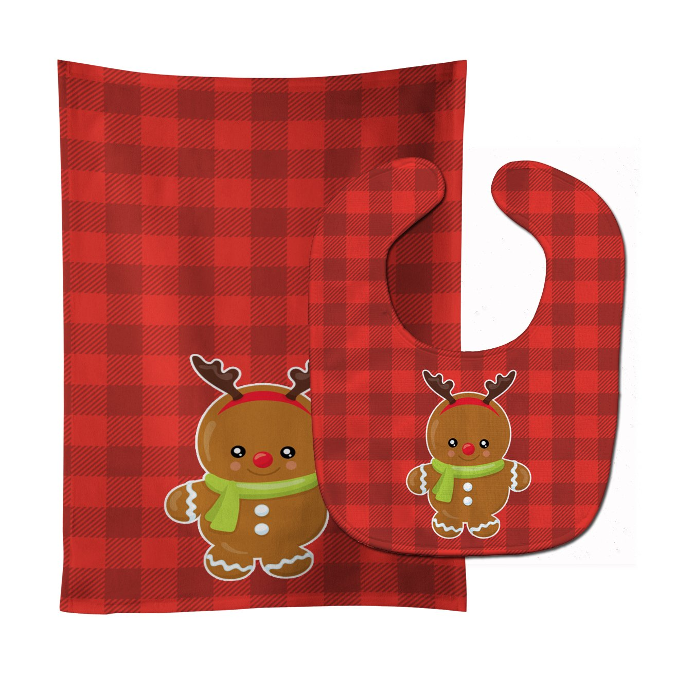 Buy this Christmas Gingerbread Reindeer Baby Bib & Burp Cloth BB8776STBU
