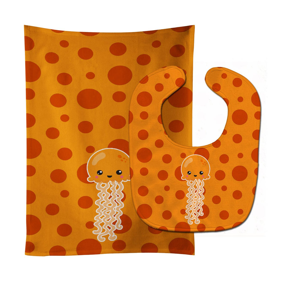 Buy this Ocean Jellyfish Orange Baby Bib & Burp Cloth BB8797STBU
