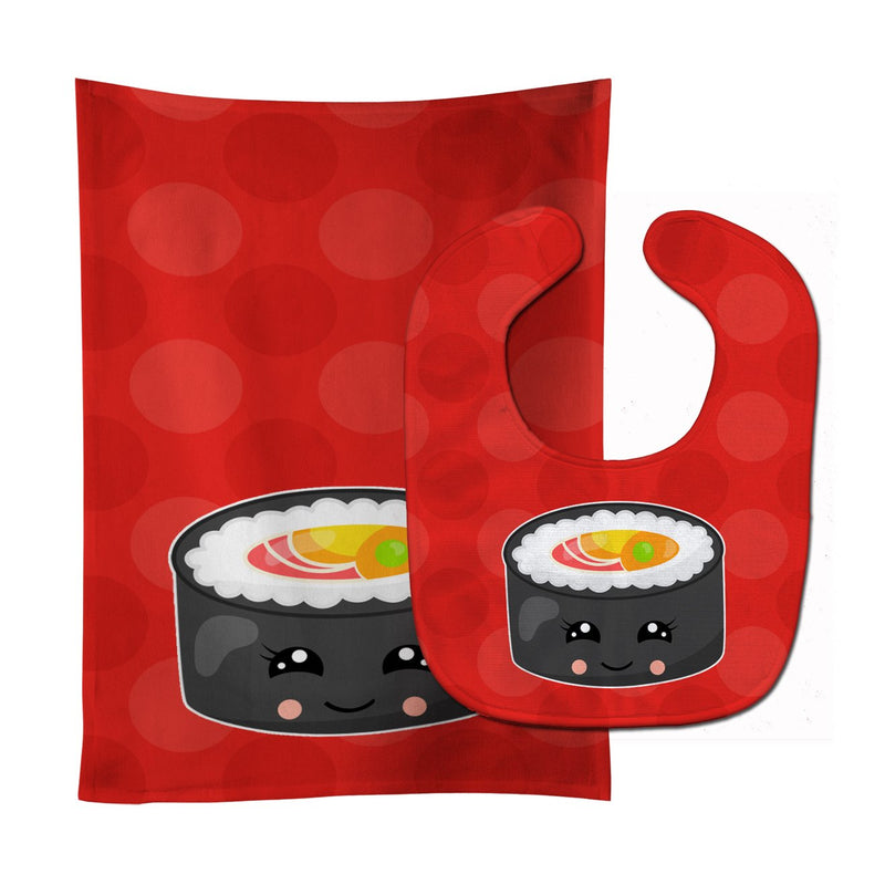 Buy this Tuna Sushi Roll with Face Baby Bib & Burp Cloth BB8800STBU