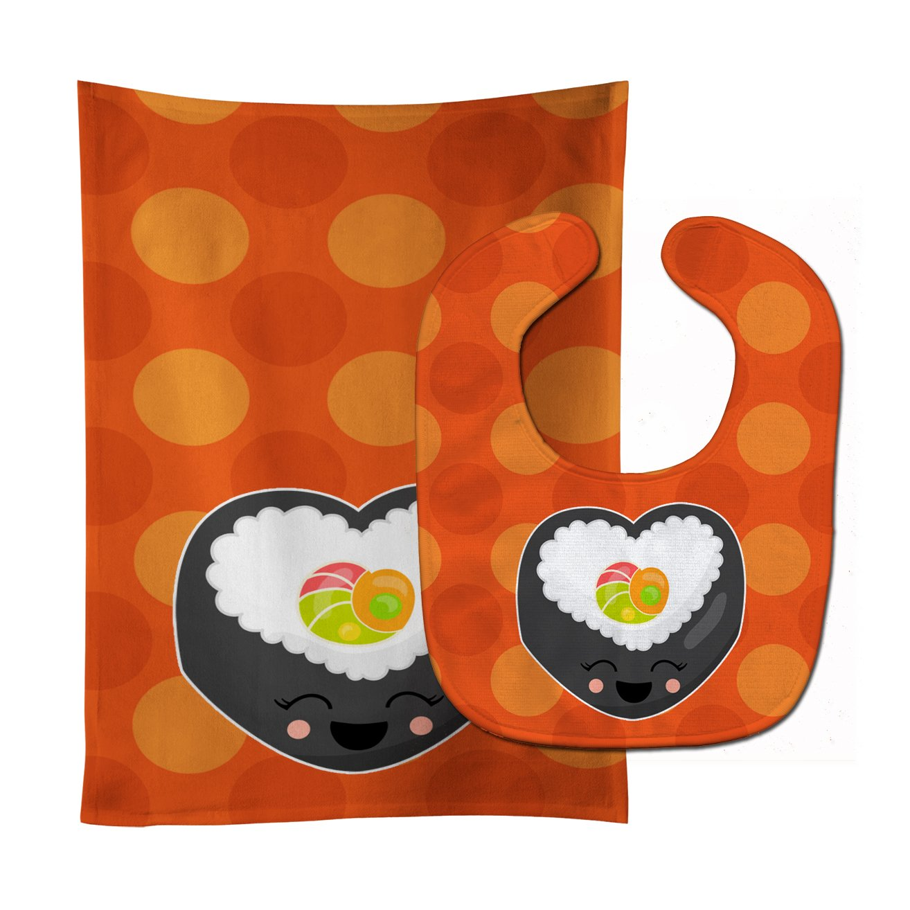 Heart Sushi Roll with Face Baby Bib & Burp Cloth BB8801STBU by Caroline's Treasures
