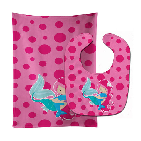 Buy this Beach Mermaid Pink Baby Bib & Burp Cloth BB8819STBU