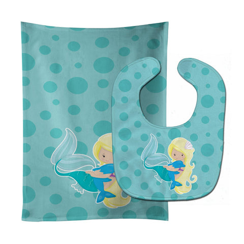 Buy this Beach Mermaid Blue Baby Bib & Burp Cloth BB8820STBU