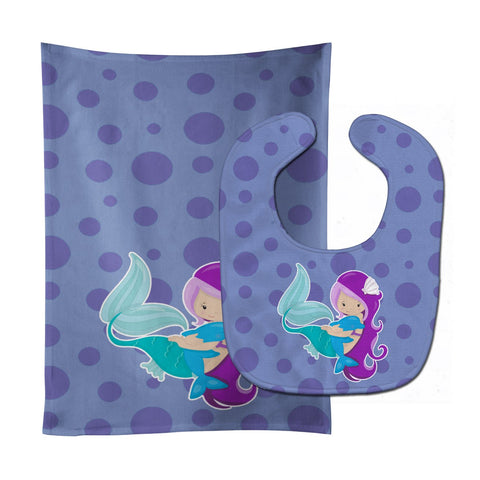 Buy this Beach Mermaid Purple Baby Bib & Burp Cloth BB8821STBU