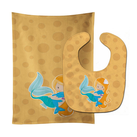 Buy this Beach Mermaid Baby Bib & Burp Cloth BB8822STBU