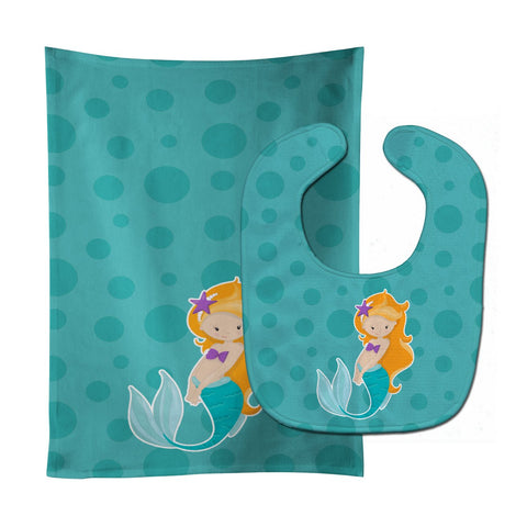 Buy this Beach Mermaid Ginger Baby Bib & Burp Cloth BB8823STBU