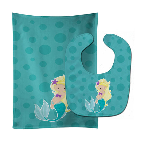 Buy this Beach Mermaid Blonde Hair Baby Bib & Burp Cloth BB8824STBU