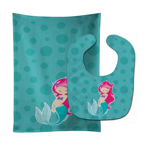 Buy this Beach Mermaid Pink Hair Baby Bib & Burp Cloth BB8825STBU