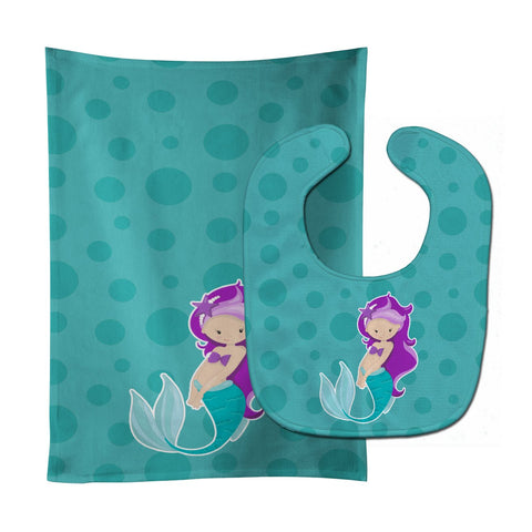 Buy this Beach Mermaid Purple Hair Baby Bib & Burp Cloth BB8826STBU