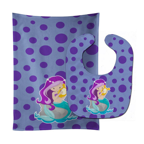 Buy this Beach Mermaid Purple Hair Grace Baby Bib & Burp Cloth BB8827STBU