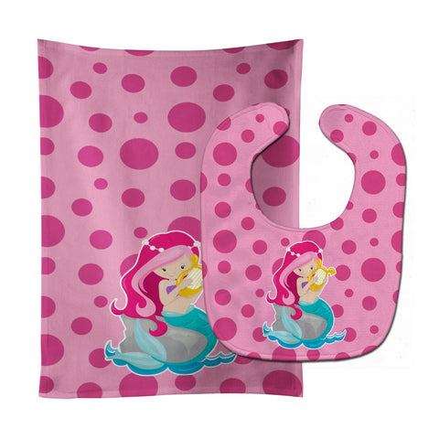 Buy this Beach Mermaid Pink Hair Pamela Baby Bib & Burp Cloth BB8828STBU