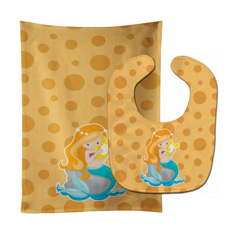 Buy this Beach Mermaid Ginger Hair Laurie Baby Bib & Burp Cloth BB8829STBU