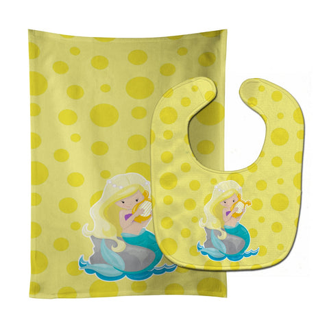 Buy this Beach Mermaid Blonde Hair Toni Baby Bib & Burp Cloth BB8830STBU