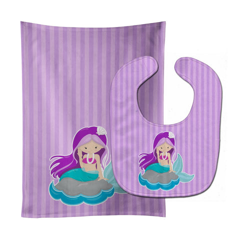 Buy this Beach Mermaid Purple Hair #3 Baby Bib & Burp Cloth BB8831STBU