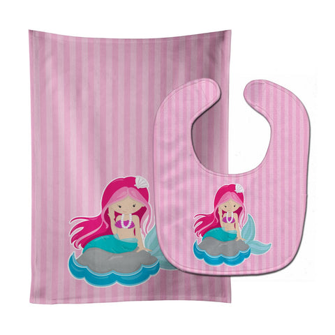 Buy this Beach Mermaid Pink Hair #3 Baby Bib & Burp Cloth BB8832STBU