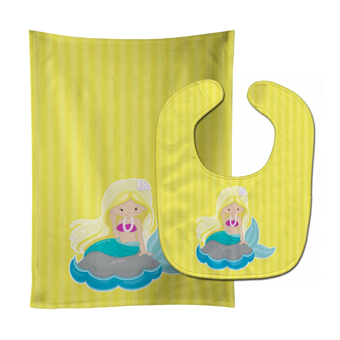 Beach Mermaid Blonde Hair #2 Baby Bib & Burp Cloth BB8833STBU by Caroline's Treasures