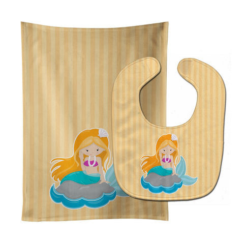 Buy this Beach Mermaid Ginger Hair Baby Bib & Burp Cloth BB8834STBU