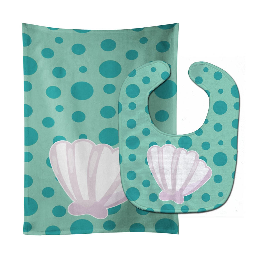 Buy this Beach Scallop Shell Baby Bib & Burp Cloth BB8840STBU