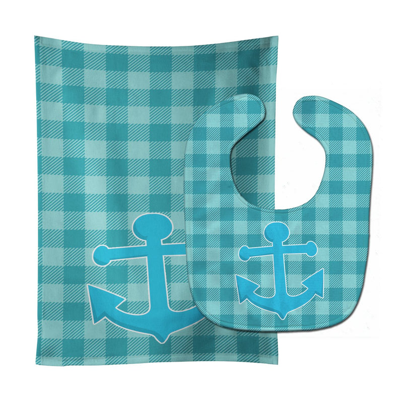 Buy this Nautical Anchor #3 Baby Bib & Burp Cloth BB8892STBU