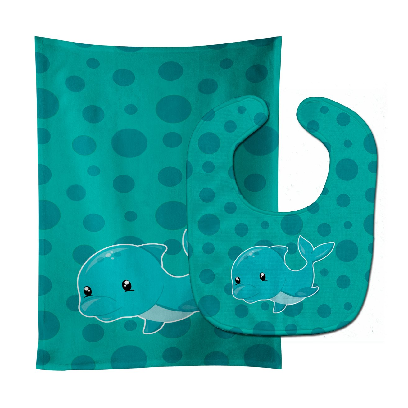 Buy this Nautical Dolphin Baby Bib & Burp Cloth BB8898STBU