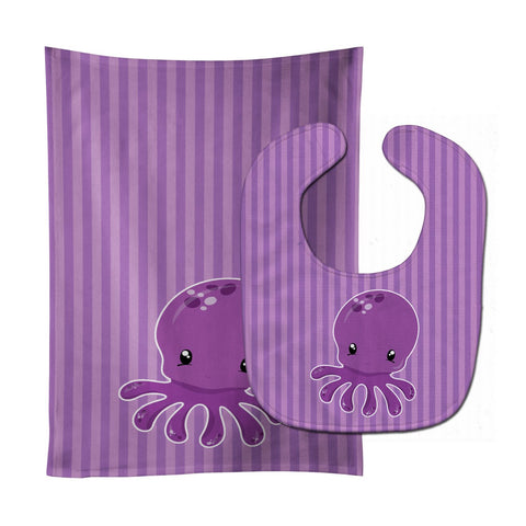 Buy this Nautical Purple Octopus Baby Bib & Burp Cloth BB8904STBU
