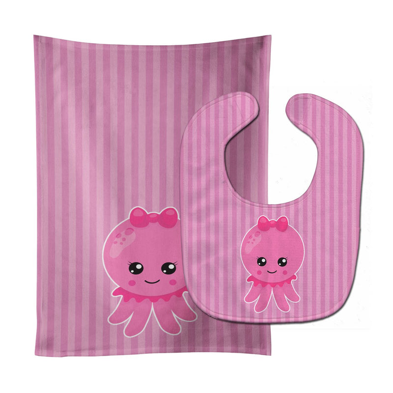 Buy this Nautical Pink Octopus #1 Baby Bib & Burp Cloth BB8905STBU