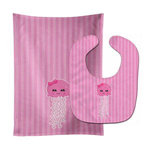 Buy this Nautical Pink Jellyfish Baby Bib & Burp Cloth BB8907STBU