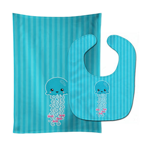 Buy this Nautical Blue Jellyfish Baby Bib & Burp Cloth BB8908STBU
