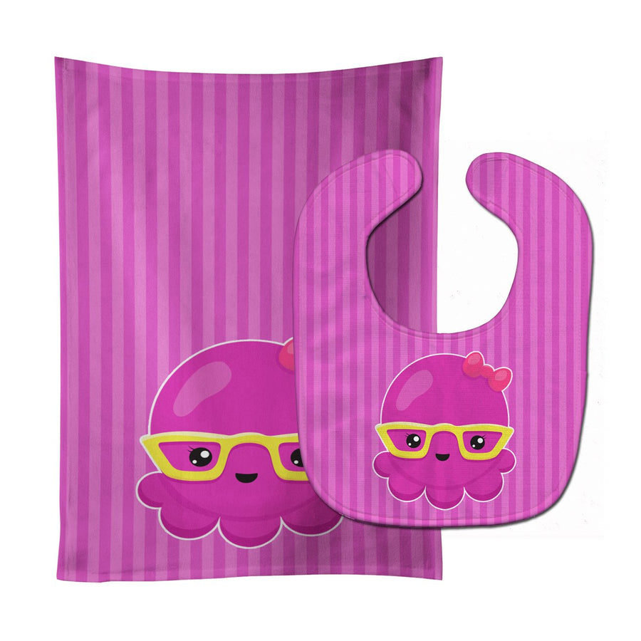 Buy this Nautical Pink Octopus with Glasses Baby Bib & Burp Cloth BB8909STBU