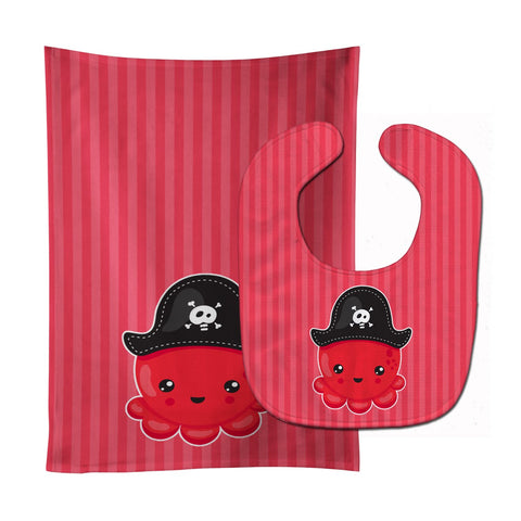 Buy this Nautical Pirate Octopus Red Baby Bib & Burp Cloth BB8918STBU