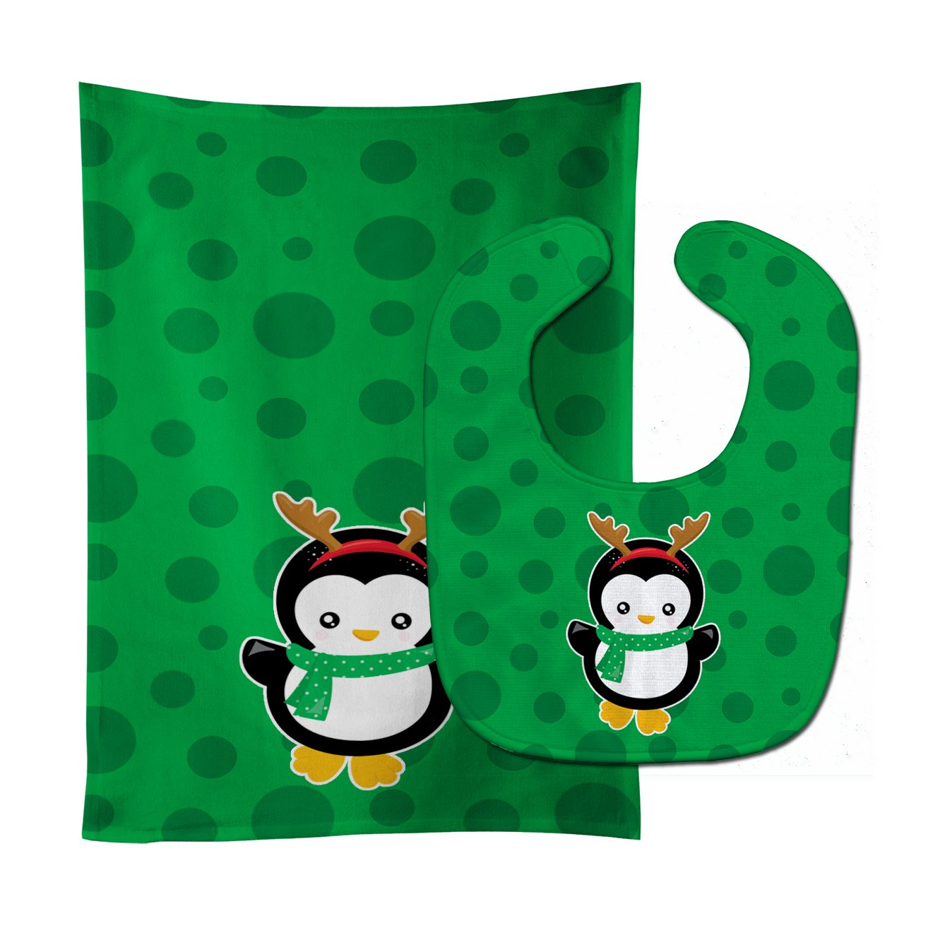 Buy this Christmas Penquin Reindeer Baby Bib & Burp Cloth BB8944STBU