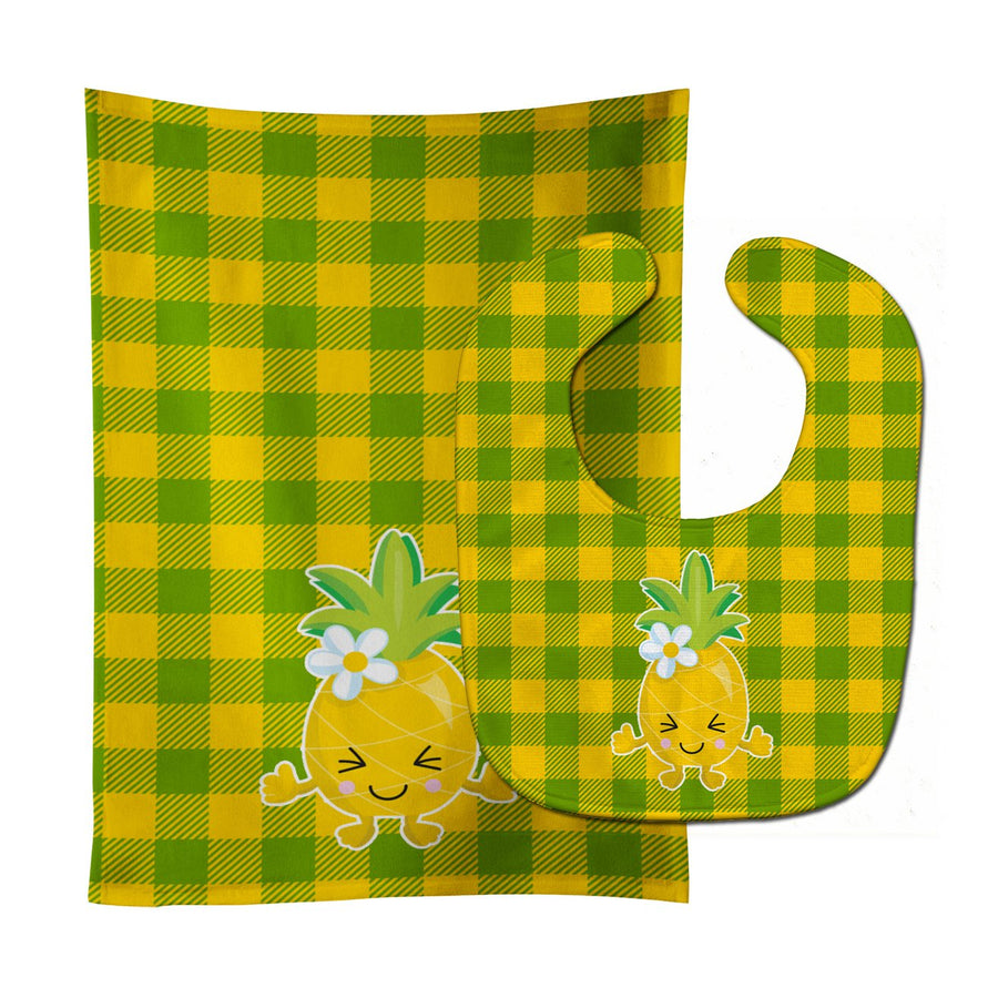 Buy this Pineapple Blinky Face Baby Bib & Burp Cloth BB8960STBU