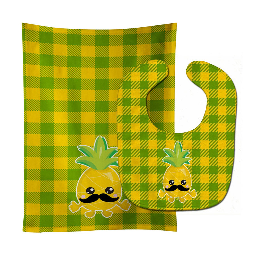 Buy this Pineapple Moustache Face Baby Bib & Burp Cloth BB8962STBU