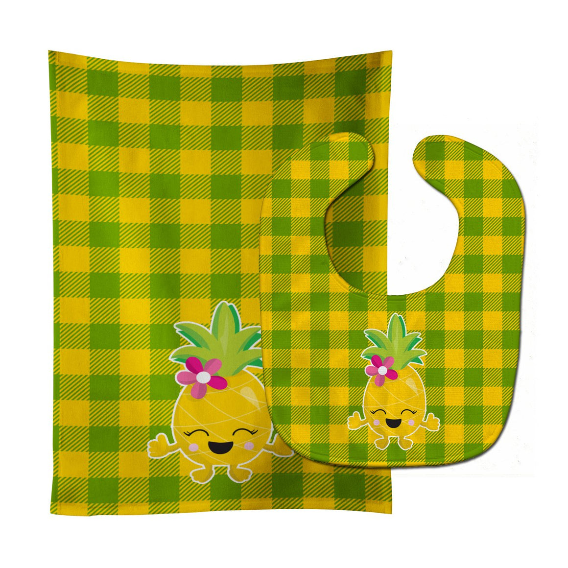 Buy this Pineapple Girl Laughy Face Baby Bib & Burp Cloth BB8963STBU
