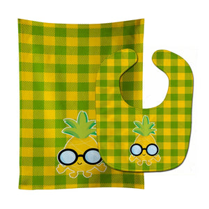 Buy this Pineapple Face with Glasses Baby Bib & Burp Cloth BB8964STBU
