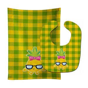 Buy this Pineapple Face Girl with Glasses Baby Bib & Burp Cloth BB8966STBU
