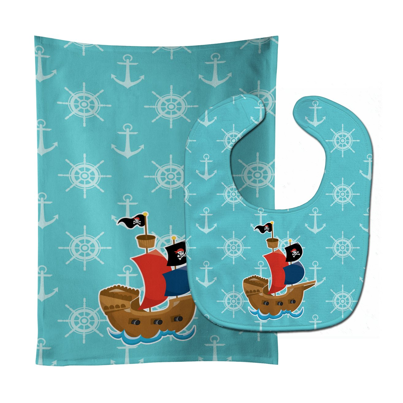 Pirate Ship Blue Baby Bib & Burp Cloth BB8968STBU by Caroline's Treasures