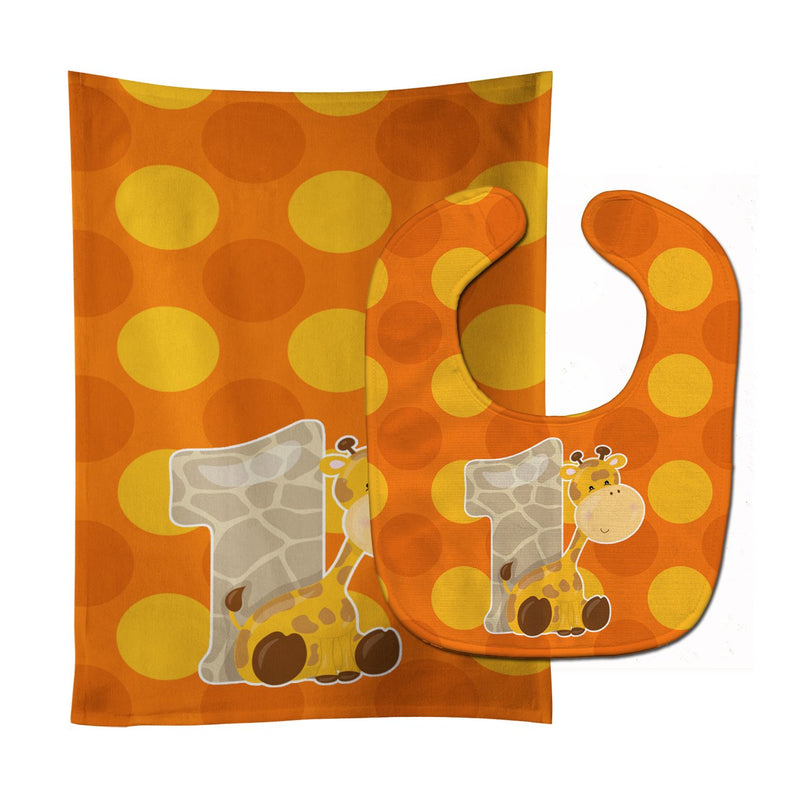 Buy this Zoo Month 1 Giraffe Baby Bib & Burp Cloth BB9008STBU