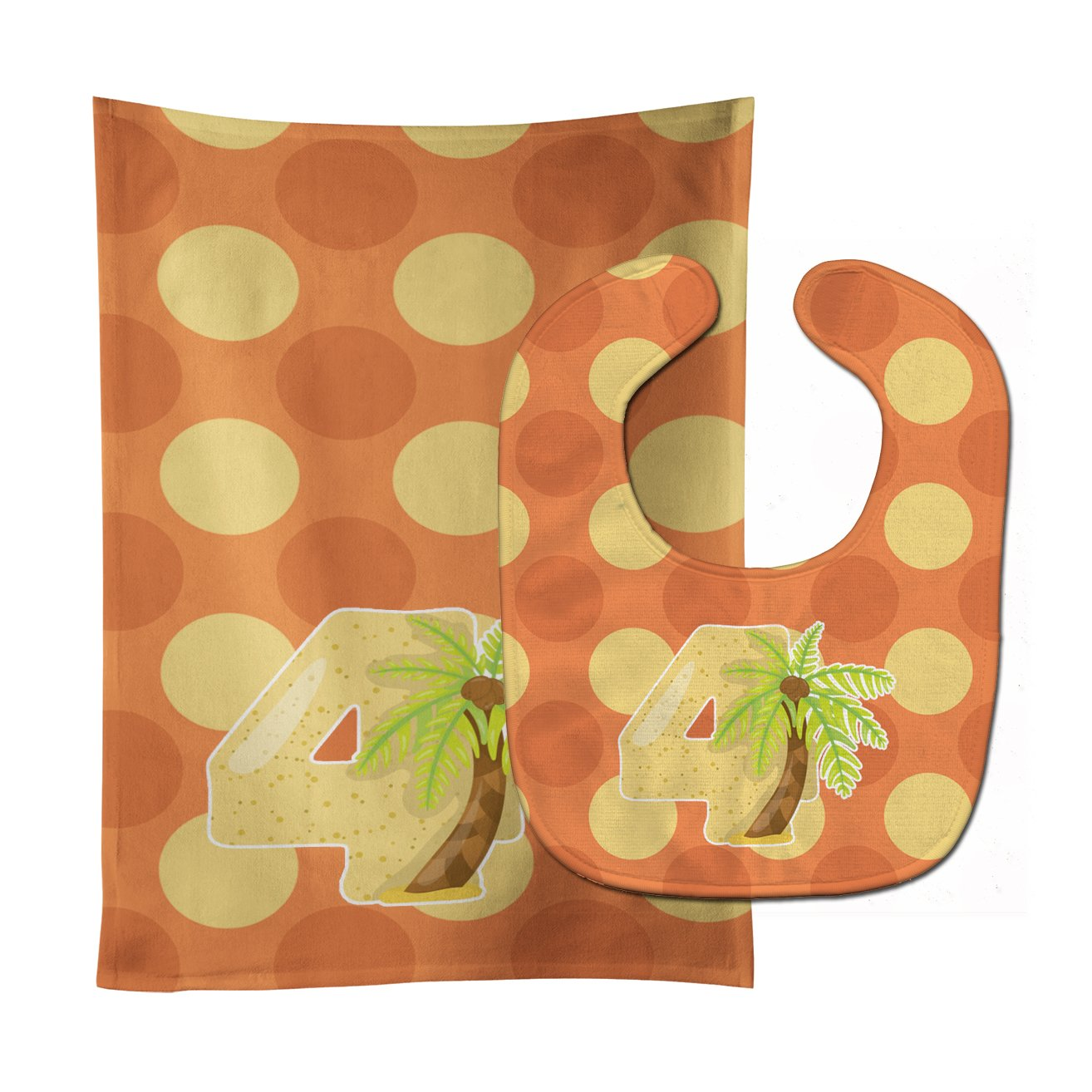 Zoo Month 4 Palm Tree Baby Bib & Burp Cloth BB9011STBU by Caroline's Treasures