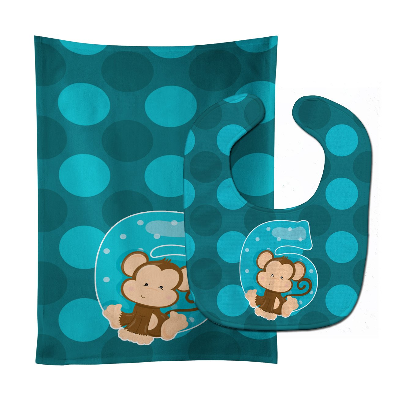 Buy this Zoo Month 6 Monkey Baby Bib & Burp Cloth BB9013STBU