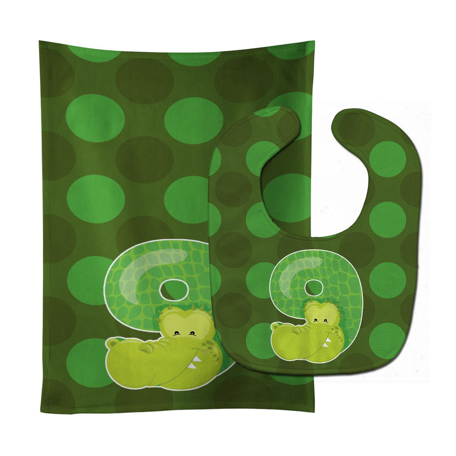 Buy this Zoo Month 9 Aligator Baby Bib & Burp Cloth BB9016STBU