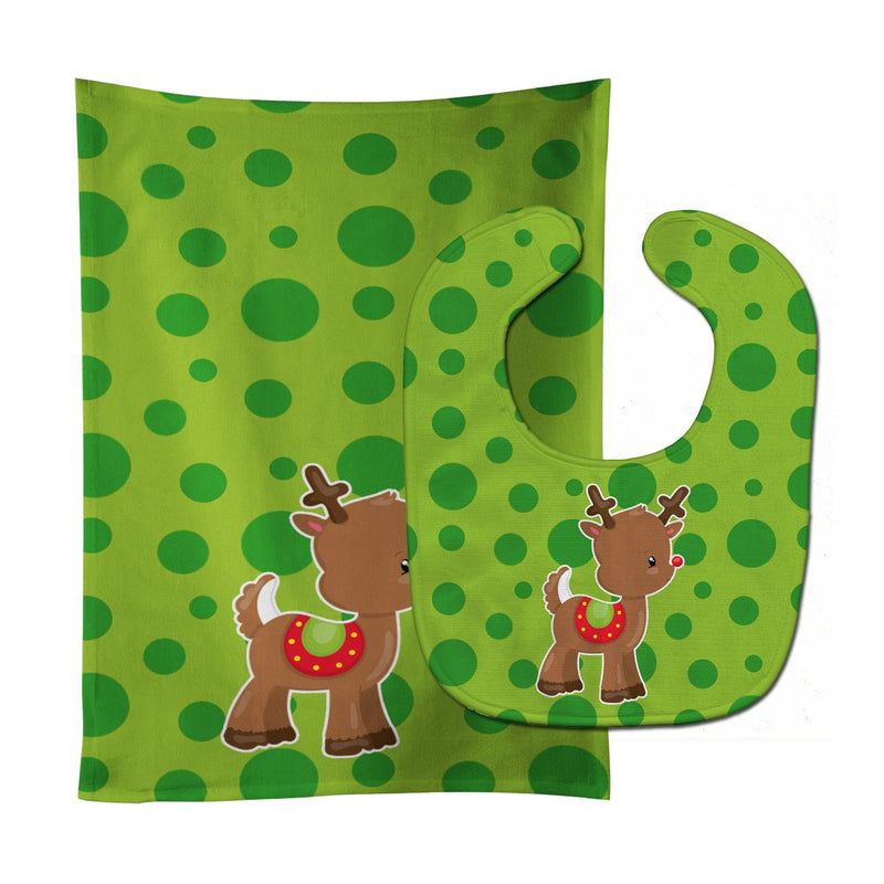 Buy this Christmas Reindeer #3 Baby Bib & Burp Cloth BB9025STBU