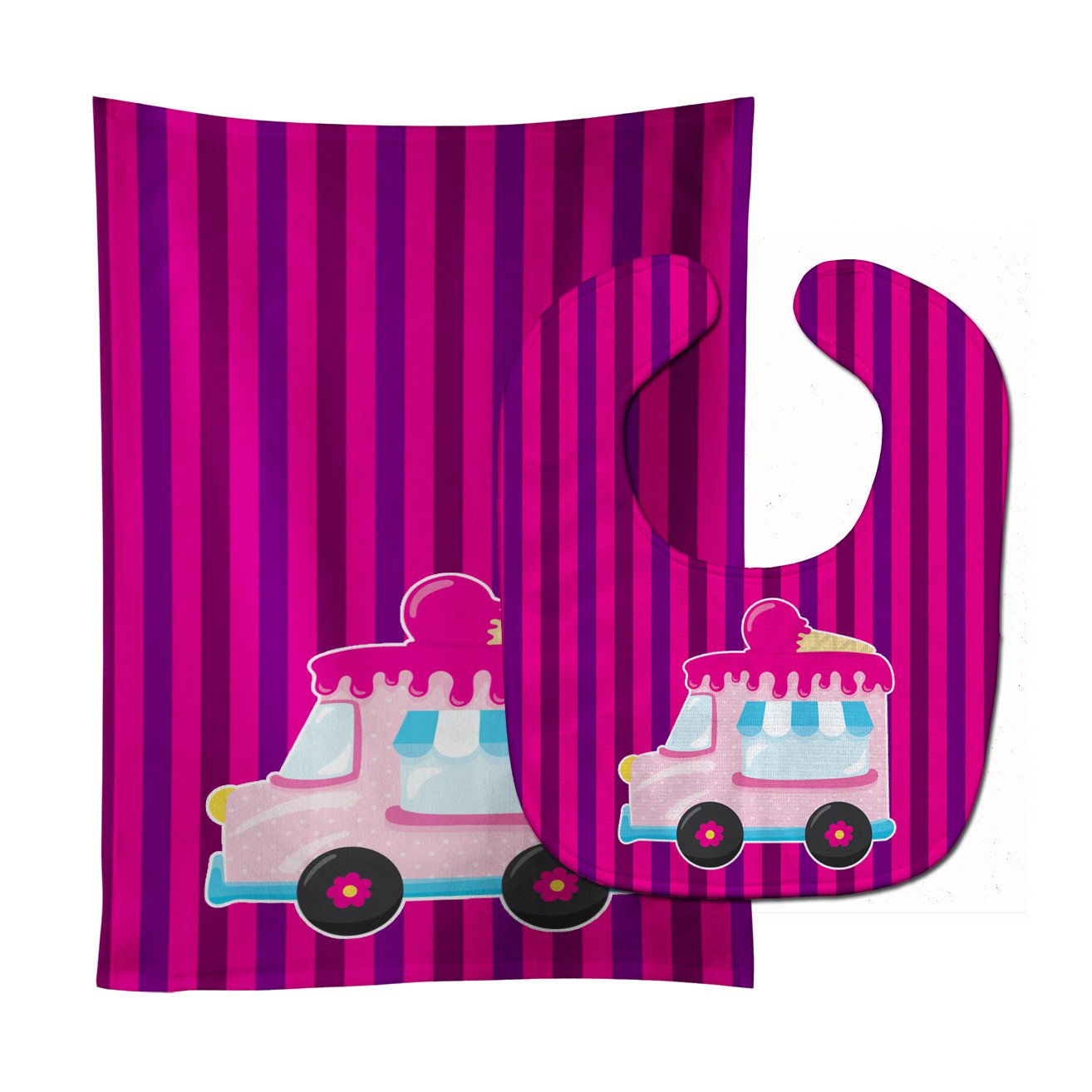 Ice Cream Truck Pink Baby Bib & Burp Cloth BB9059STBU by Caroline's Treasures