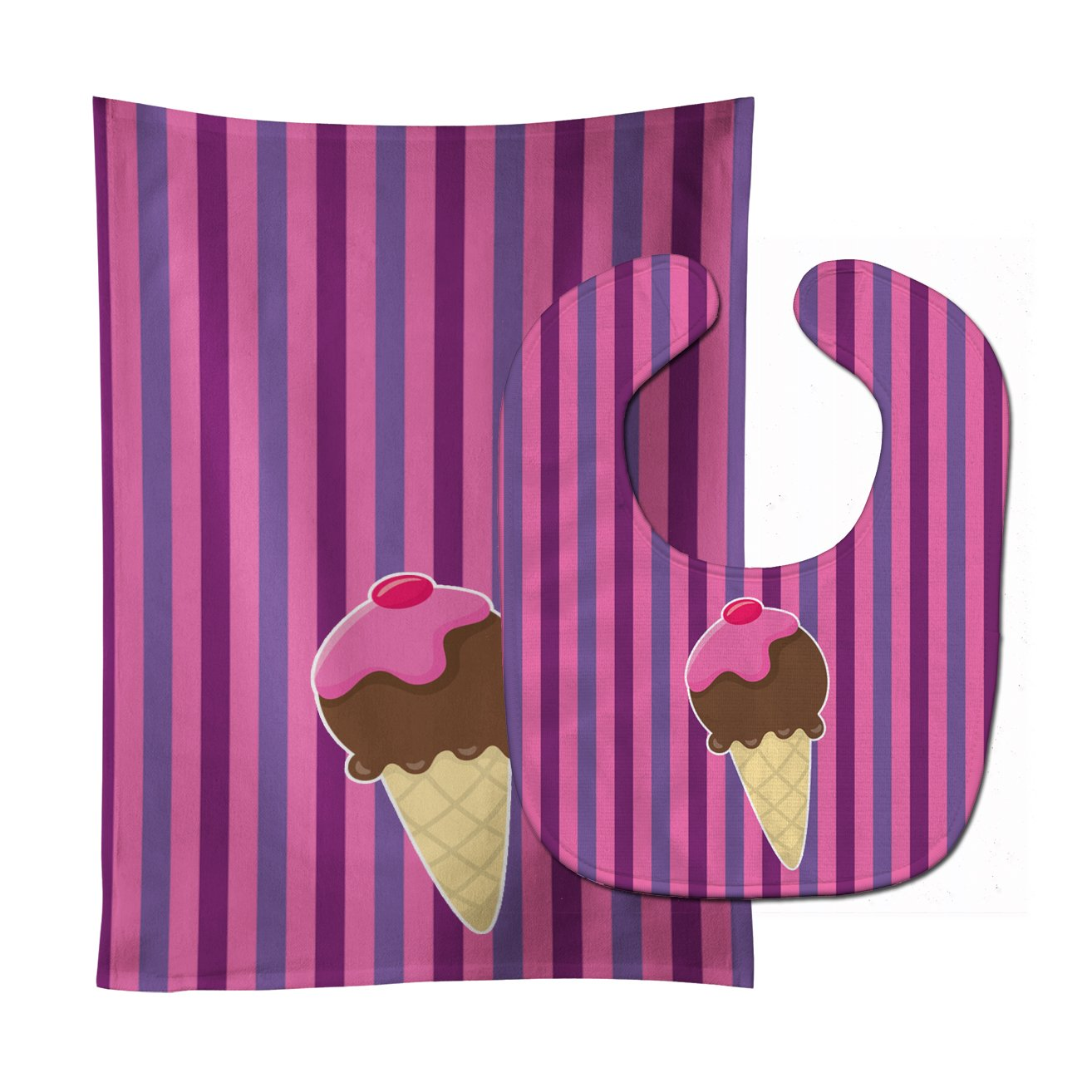 Ice Cream Cone Baby Bib & Burp Cloth BB9060STBU by Caroline's Treasures