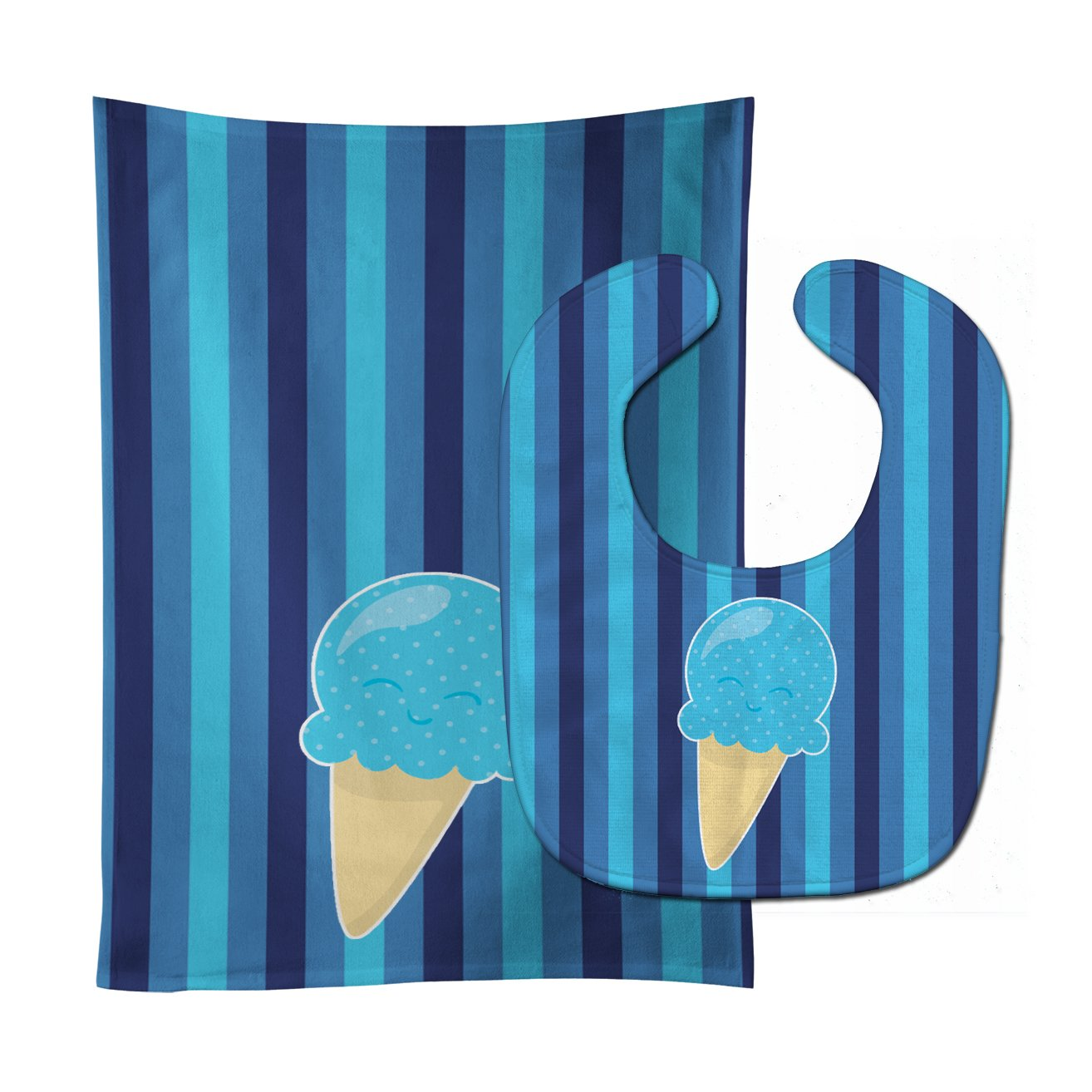 Ice Cream Cone Blue Baby Bib & Burp Cloth BB9062STBU by Caroline's Treasures