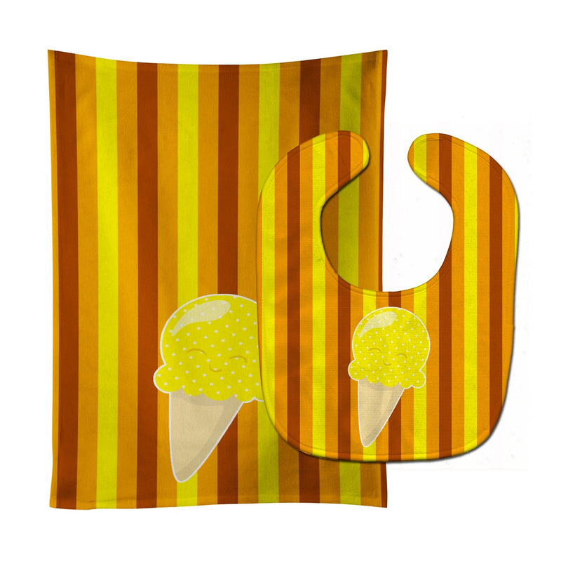 Buy this Ice Cream Cone Yellow Baby Bib & Burp Cloth BB9063STBU