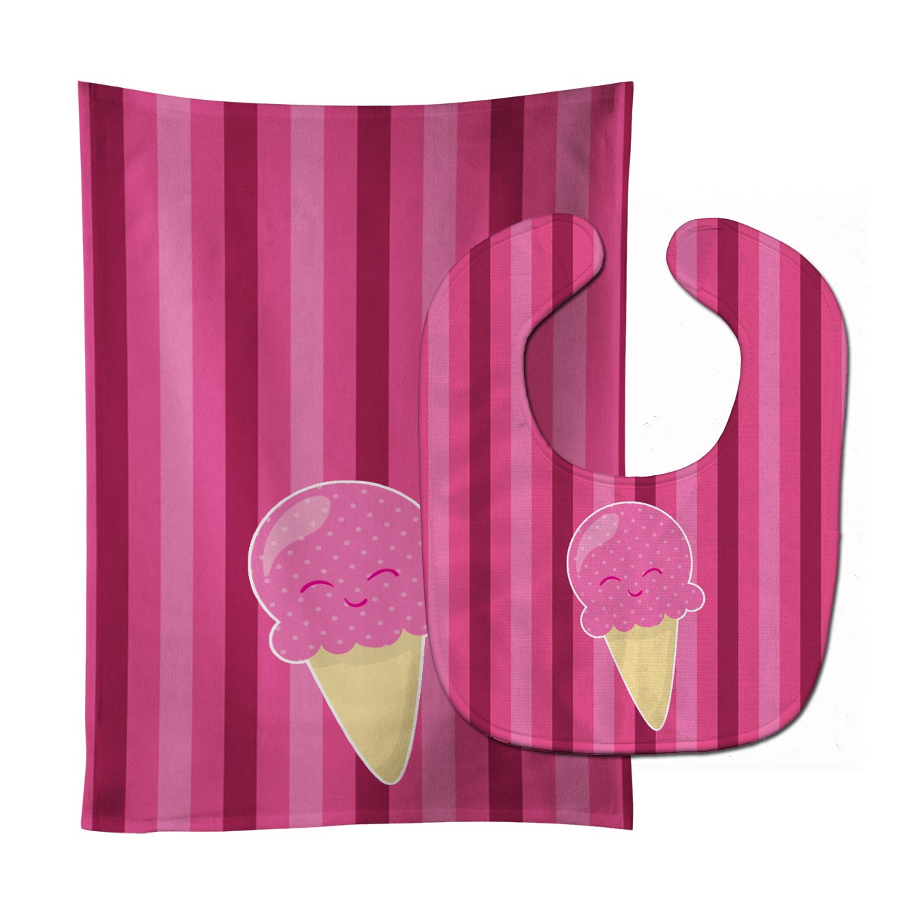 Buy this Ice Cream Cone Pink Baby Bib & Burp Cloth BB9064STBU
