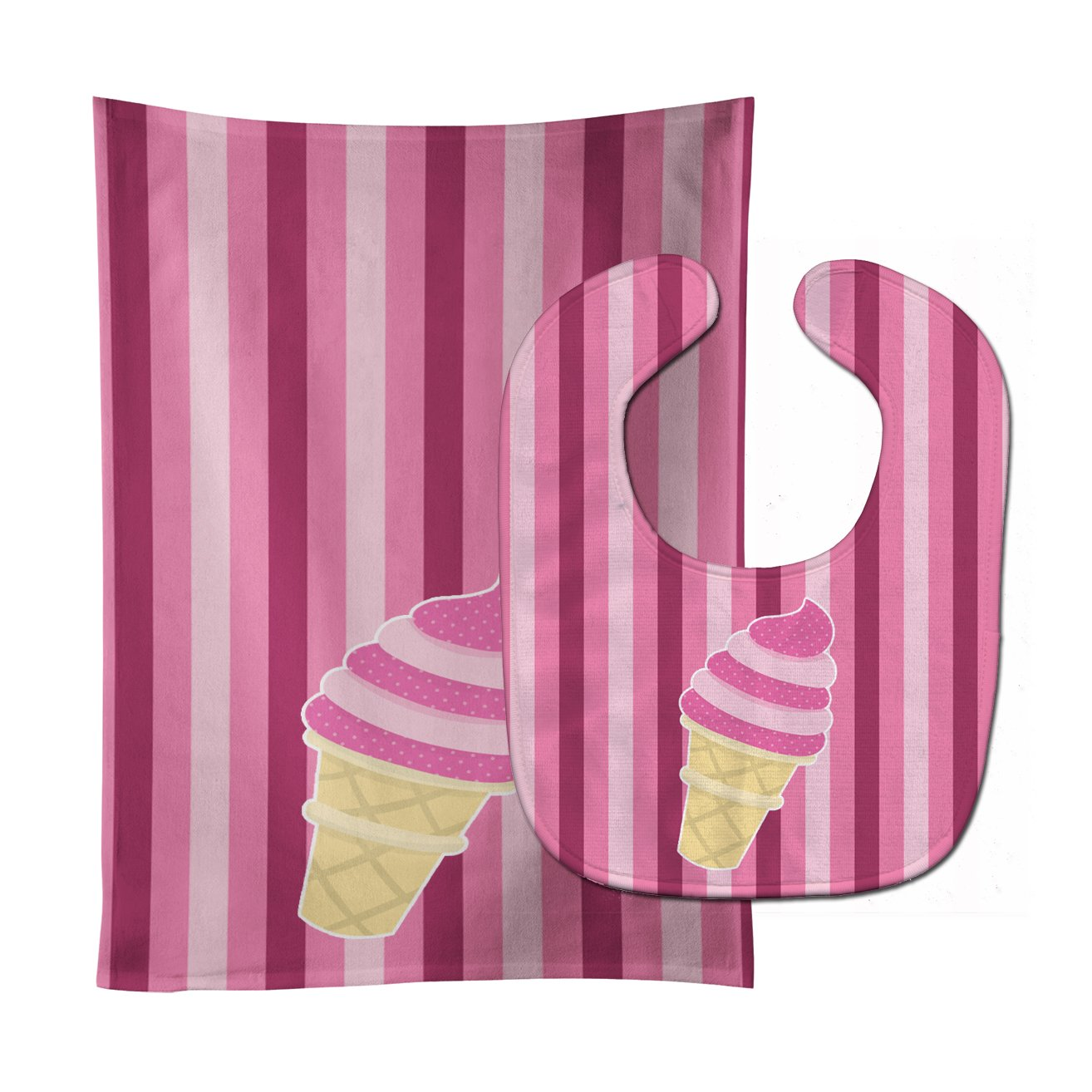 Ice Cream Cone Pink Swirl Baby Bib & Burp Cloth BB9065STBU by Caroline's Treasures