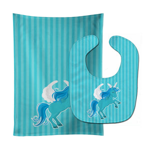 Buy this Unicorn Blue Stripes Baby Bib & Burp Cloth BB9086STBU