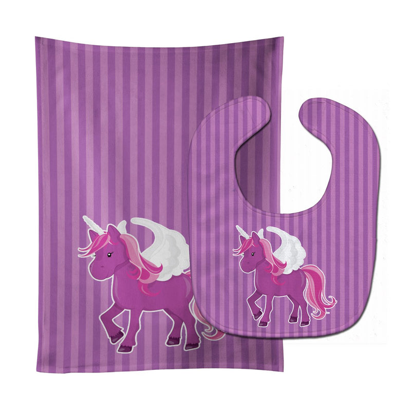 Buy this Unicorn Purple Stripes Baby Bib & Burp Cloth BB9089STBU